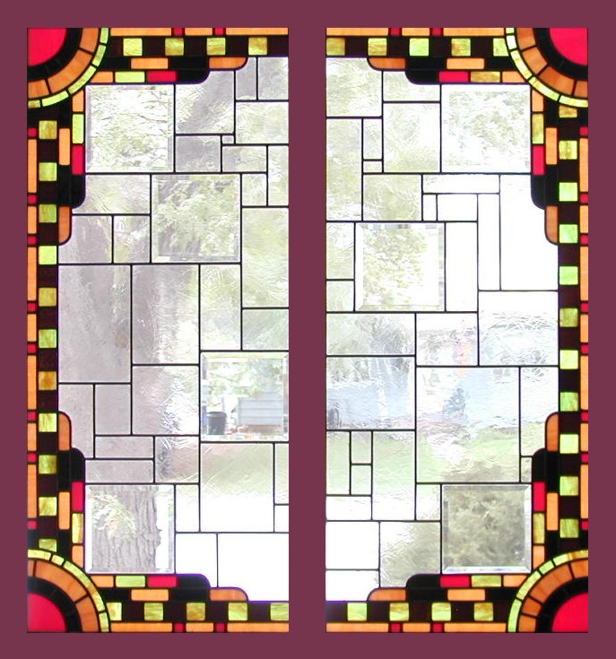 Art Deco Stained Glass Cabinet Doors