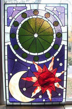 astrology chart stained glass