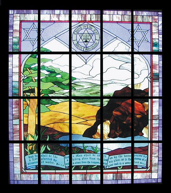 stained glass church window - rock