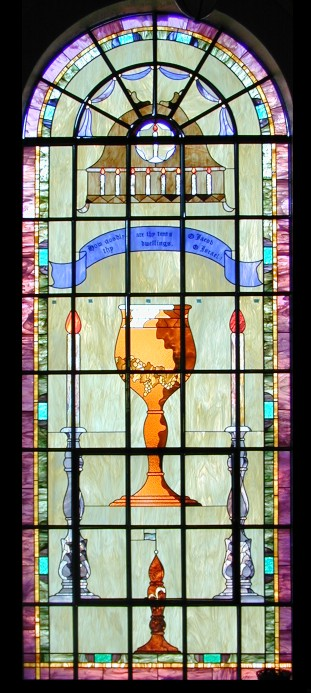 stained glass church window - chalice