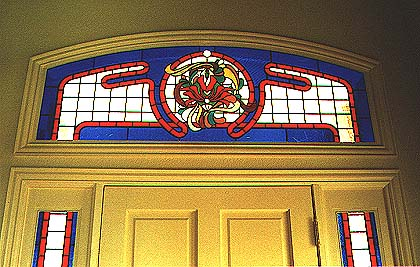 colorful foyer stained glass