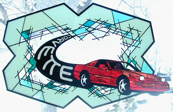 corvette stained glass,automotive art,automotive stained glass