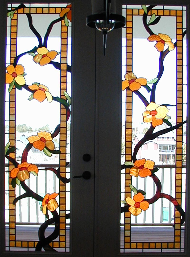 Flowering Vine Stained Glass Doors