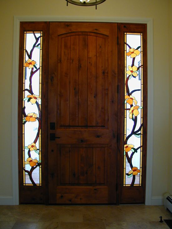 flowering vine stained glass entry
