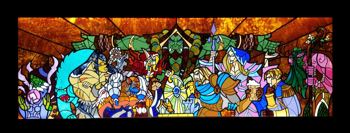 hearthstone stained glass for blizzard entertainment,blizzard art,blizzard artwork,blizzard stained glass