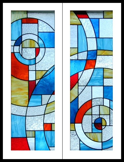 Futuristic Stained Glass Cabinet Doors Decor
