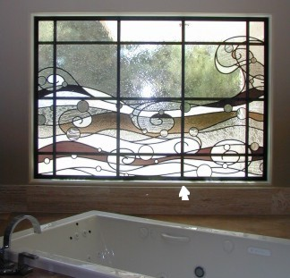 master bathroom stained glass