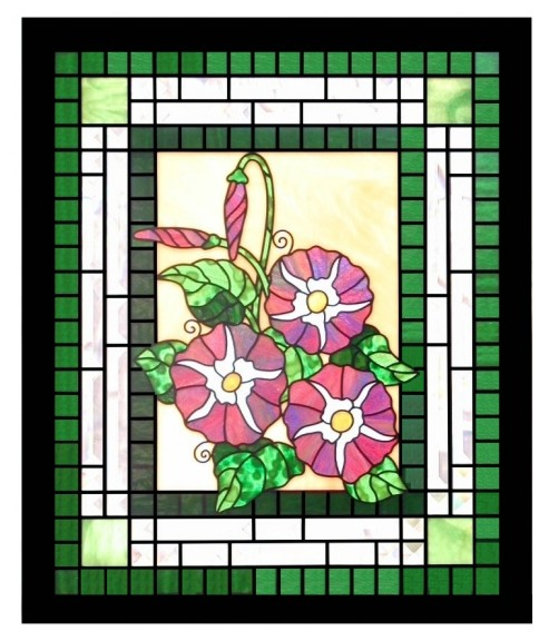 morning glories stained glass