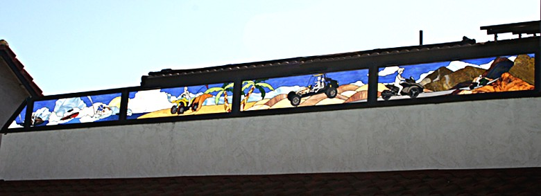 motorsports in stained glass