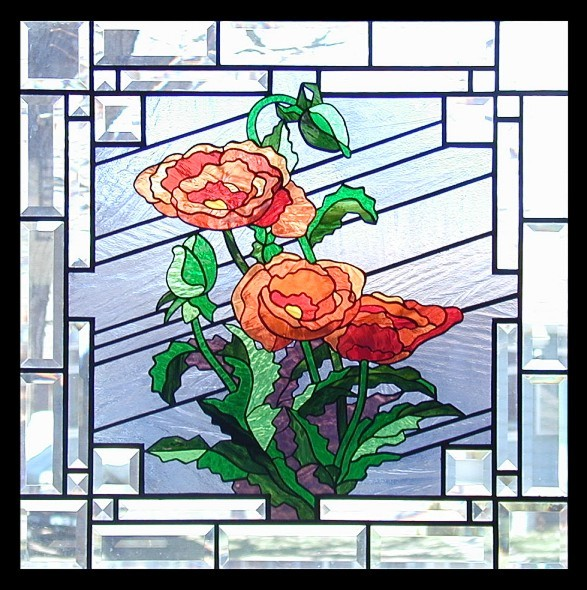 peonies in stained glass