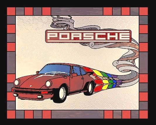 stained glass porsche,automobile art,your car in stained glass,automobile stained glass