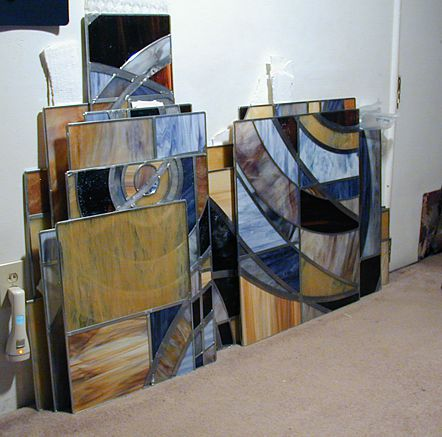 wall of stained glass before installation