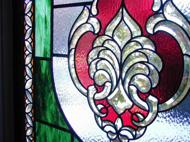 stained glass with bevels detail 1