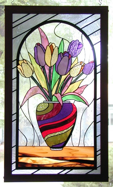 tulips stained glass