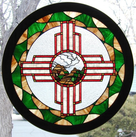 Zia Sun Symbol 2 Native American Indian Art In Stained Glass